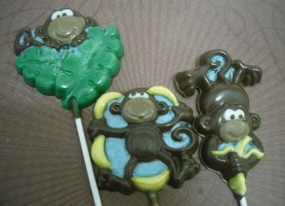 Set of 3 Large Monkey Lollipops