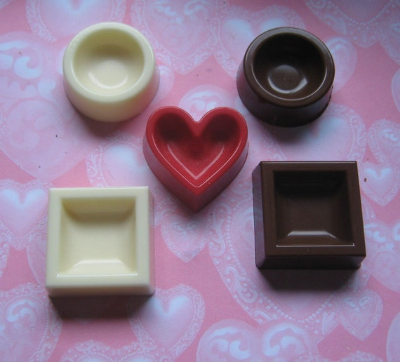 5 piece mini chocolate candy dishes dessert cups