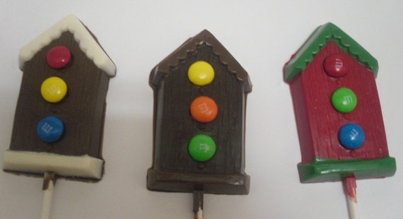 One Dozen Bird House Lollipops with Candy Coated Chocolate Pieces