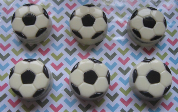 One dozen soccer ball chocolate covered oreo sandwich cookie party favors