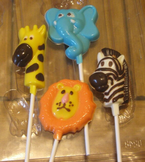 One dozen jungle pops lion giraffe elephant and zebra party favors suckers