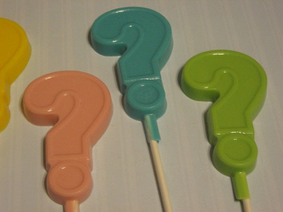 One dozen question mark baby shower gender reveal party favors lollipops suckers
