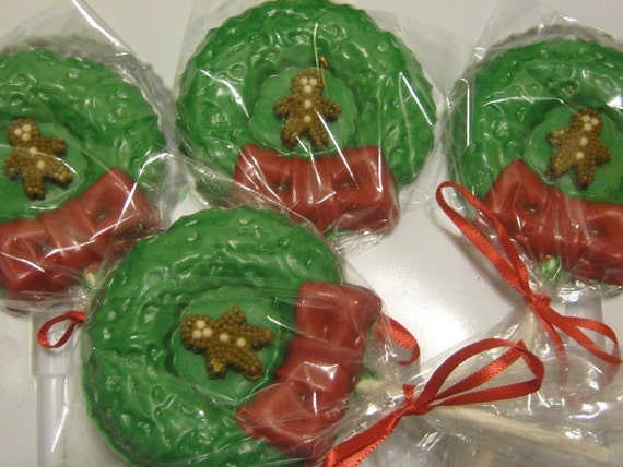 Wreath with gingerbread man or snowman party favor sucker lollipop