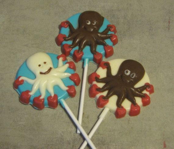 One dozen octopus with hearts lollipop sucker party favors