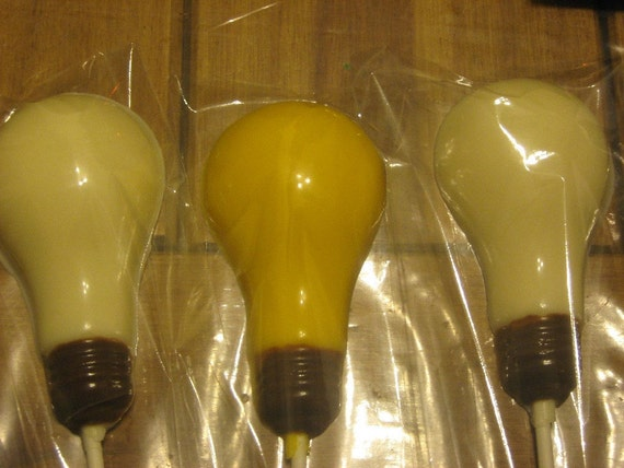 One dozen realistic light bulb lollipops