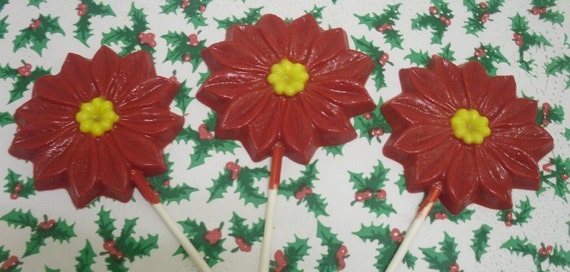 Set of 3 Large Poinsettia Lollipops