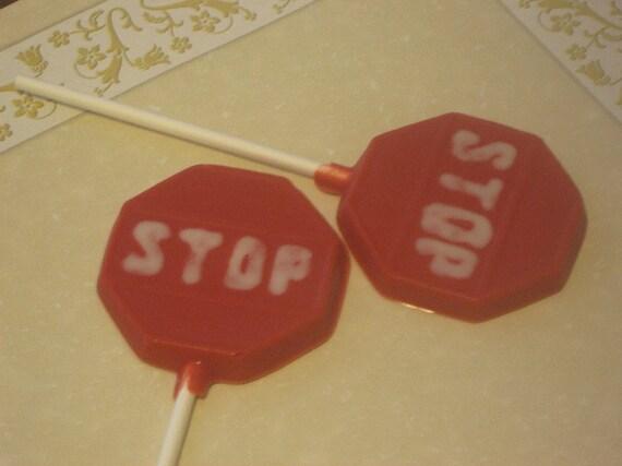 One dozen stop sign lollipop sucker party favors