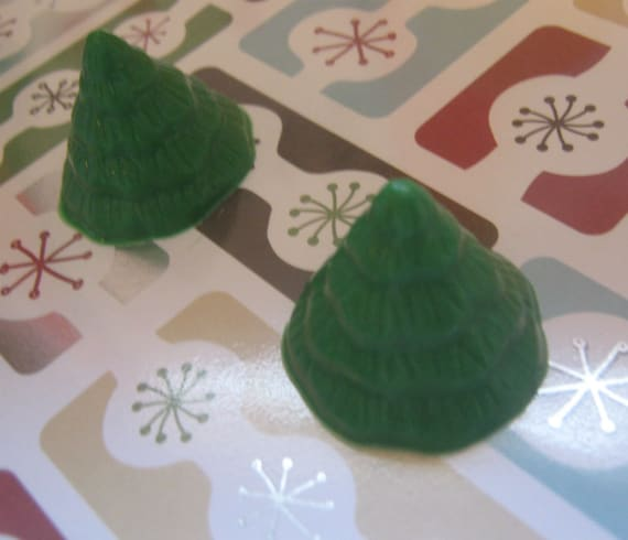 Mini tree cupcake toppers one dozen Christmas tree party favors