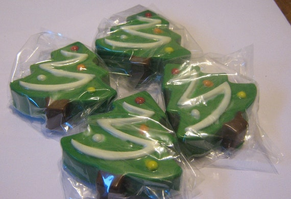 One dozen chocolate covered sandwich cookie Christmas trees