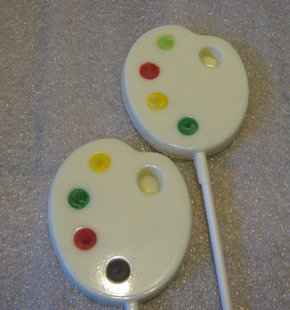 One dozen painters palette lollipops suckers party favors