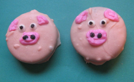 One dozen piggy design chocolate covered sandwich cookie party favors