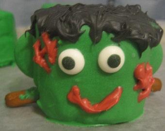 Frankenstein designed chocolate covered marshmallows