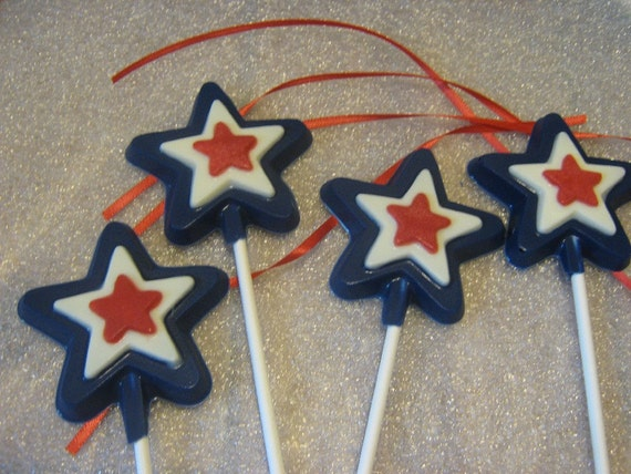 One dozen triple layered star lollipop sucker party favors