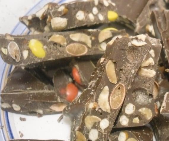 Peanut Butter Pieces, Peanuts, and pretzel pieces bark