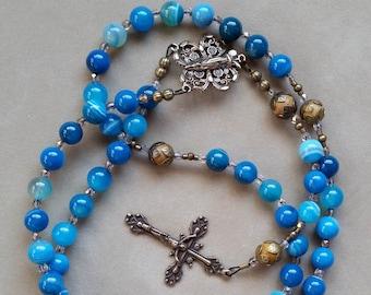 Blue Striped Agate Five Decade Catholic Rosary