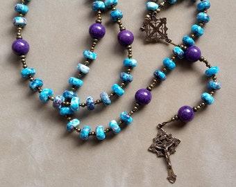Blue ~ Purple Ceramic Rondelle Five Decade Catholic Rosary