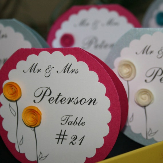 items similar to wedding escort cards with paper flowers