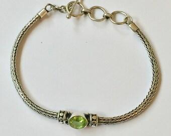 Viking Weave Sterling Silver Peridot Bracelet 925