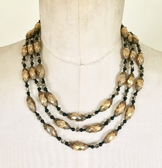 MIRIAM HASKELL 1950s beaded multi strand necklace