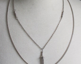 Vintage Necklace TASSEL Silver Tone Multistrand Chain Modernist