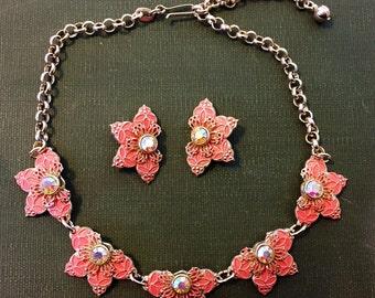 GERMANY Necklace Earrings SET Signed Pink Aurora Borealis Rhinestone Set