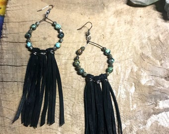Dream Chaser Earrings //  dream catcher earrings with African Turquoise and Pyrite
