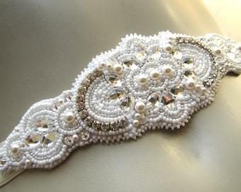 Swarovski bridal sash Wedding sash Swarovski bridal headband Bridesmaids belt Vintage wedding Crystal sash Offwhite sash