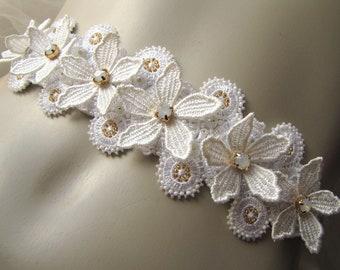 Flower Lace Bridal Sash Wedding Flower Sash Swarovski Lace Headband Ivory Bridal Sash Ivory Bridal Accessory Bridal Hair Wrap Opal Offwhite
