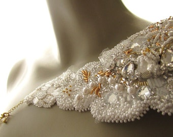 Couture Wedding Epaulet Bridal Shoulder Jewelry  Asymmetric White Epaulet Couture Embroidery Epaulet Shoulder Jewelry Statement Accessory