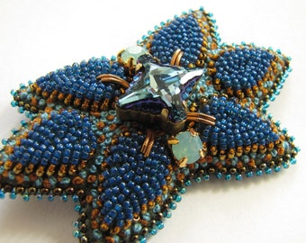 Blue Flower Leaf Brooch Beaded Pin Bead Embroidery Brooch French Knot Brooch Swarovski Brooch Blue Brooch Blue Flower Brooch