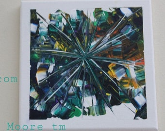 Star Teal, abstract star in teal and blue, with some orange, bright wall art