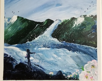 River, wall art, spring thaw, acrylic, painting, child, flowers