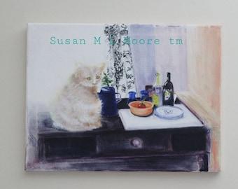 Wall Art, Cat, Kitchen, Dining, Wine, Still Life,