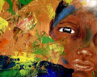 Beautiful Son, Juneteenth Celebration, BLM, Figurative Abstract of a young African American boy