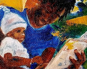 African American, Father, Son, figurative abstract,BLM, Juneteenth,