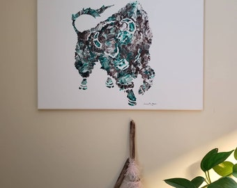 Buffalo, Western Plains Wall Art bold teal exciting