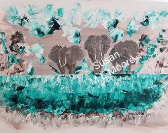 Painting Large Elephants Save Elephants Walking On Thin Ice Tribute
