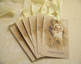 ChristmasTags Santa Tags Old World Santa Tags Handmade Vintage Style Set of 6 or 9