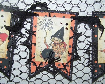 Halloween Banner Halloween Garland Handmade Vintage Style Halloween Decoration, Halloween Gift, BOO banner
