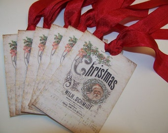 Christmas Tags Santa Tags Shabby Vintage Style Set of 6 or 9