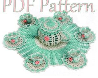 PDF Crochet Pattern- Tea Party Doily