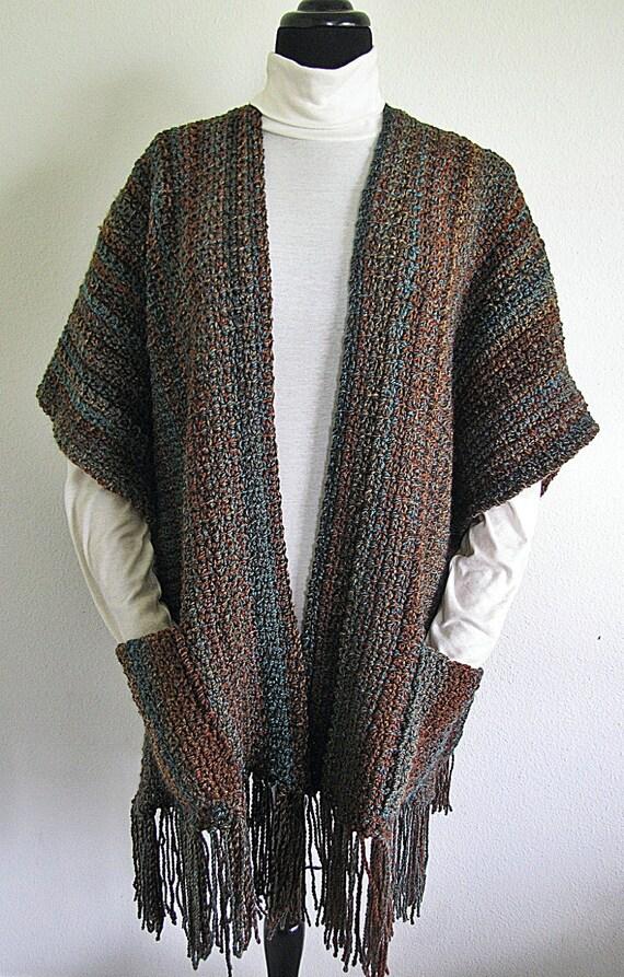 Pdf Crochet Pattern Indian Summer Ruana Wrap Shawl Etsy