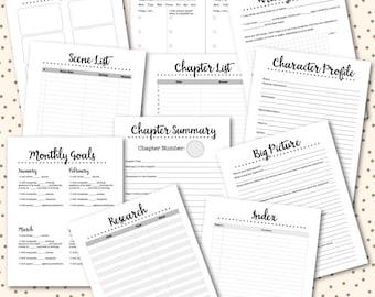 Novel Planner PRINTABLE Inserts NaNoWriMo Worksheets