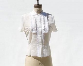 1950s Blouse 50s Nylon Blouse 50s White Blouse Sheer Top Ruffled Blouse Large L