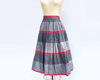 SALE Vintage 80s Designer Skirt Laurel Midi Skirt 50s Style Skirt Cotton Linen Skirt Striped Skirt Red Black s