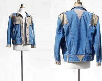 80s Denim Jacket Oversized Denim Leopard Print Vintage Jean Jacket Vintage Denim Jacket 1980s Jean Jacket Denim Bomber Jacket xs to m