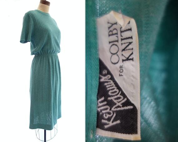 Vintage Knit Dress 70s Knit Dress Short Sleeve Dr… - image 5