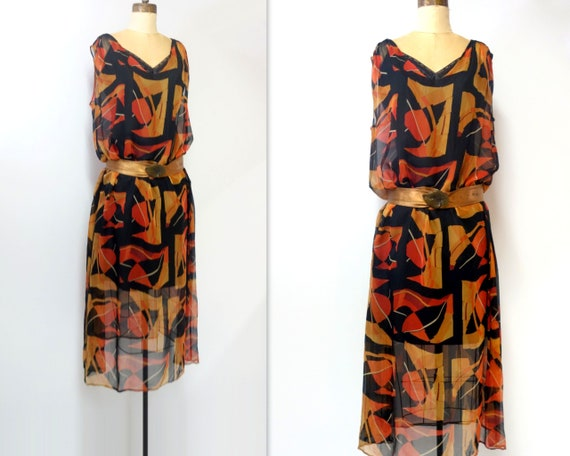 1920s Dress Vintage 20s Silk Chiffon Feather Print