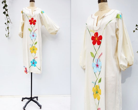 Vintage Caftan Dress 70s Boho Dress Vintage 70s K… - image 1