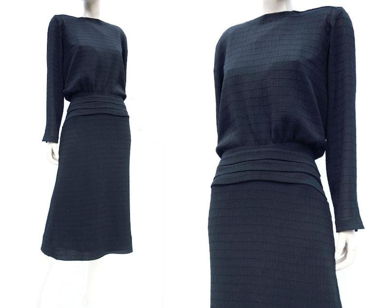 36bfea77c430c 80s does 30s Dress / Vintage Couture / Vintage Black Dress / 80s Black  Dress / Dolman Sleeve Dress / Designer Dress / 1980s Dress L